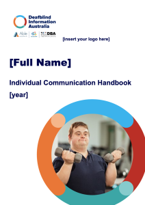 logo, text and with the photo of a young man holding dumbells